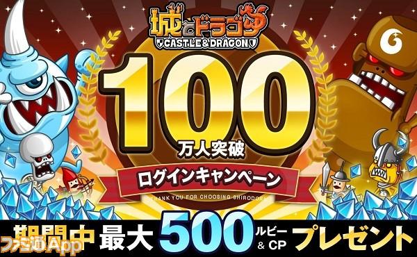 城とドラゴン_100万人突破バナー