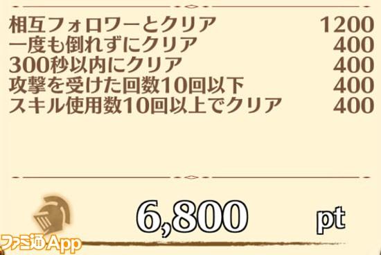星13の報酬例(ルーン・戦功ポイント)