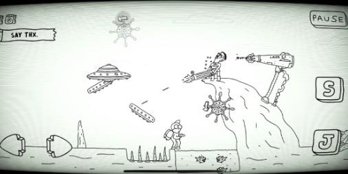 【新作】フリーハンドのキャラが大暴れ!!コミカルで味わい深いアクションゲーム 『ジョニーロケット』