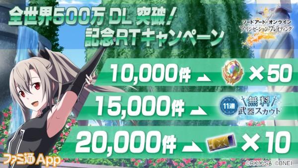 500万DL突破記念RTキャンぺーン